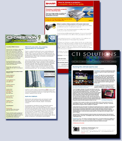 E-mail newsletters for Sharp, Crestron and Conference Technologies by Kreski Marketing Consultants, Don Kreski, Kreske, Kresge