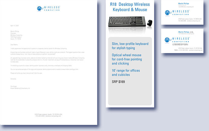 Wireless Computing letterhead and business cards by Kreski Marketing